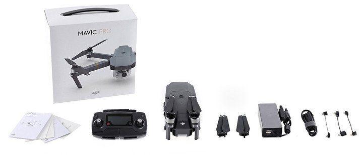 componentes del dron plegable dji mavic pro con caja sobre fondo blanco