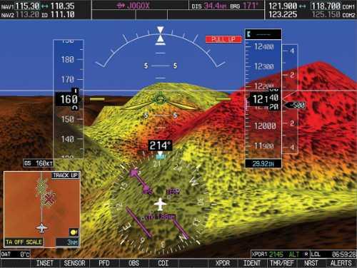 detalle de pantalla de simulador garmin g1000