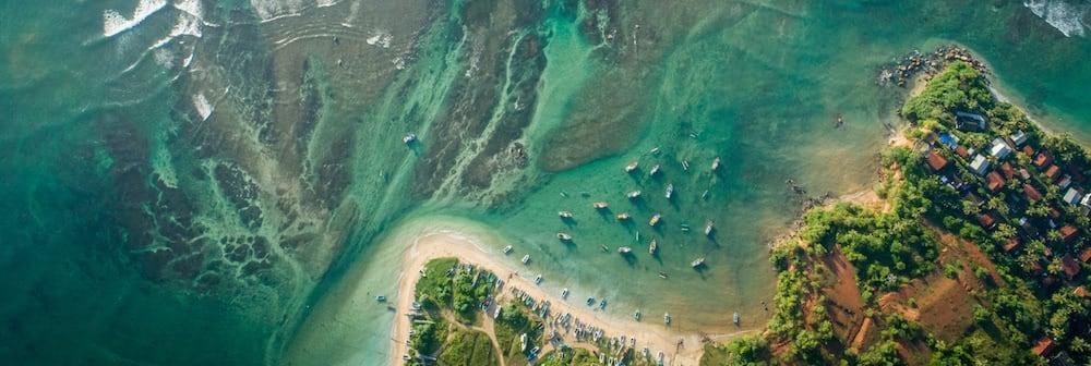 vista aerea de playa con barcos vegetacion y fondo marino