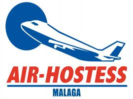 logo de air hostess malaga con avion azul y letras rojas