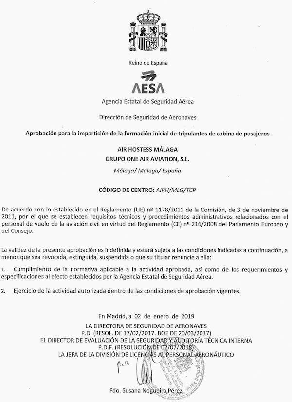 aprobacion para la imparticion del curso oficial de azafatas de vuelo por air hostess malaga