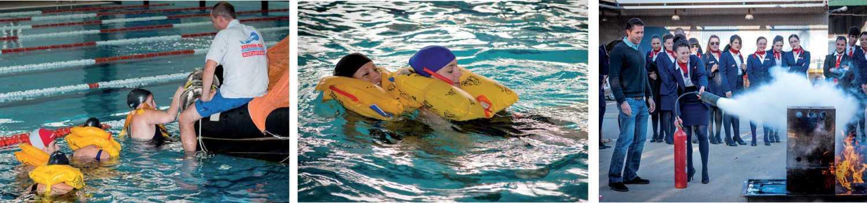 estudiantes del curso oficial de auxiliares de vuelo en la prueba de natacion y extincion de incendios