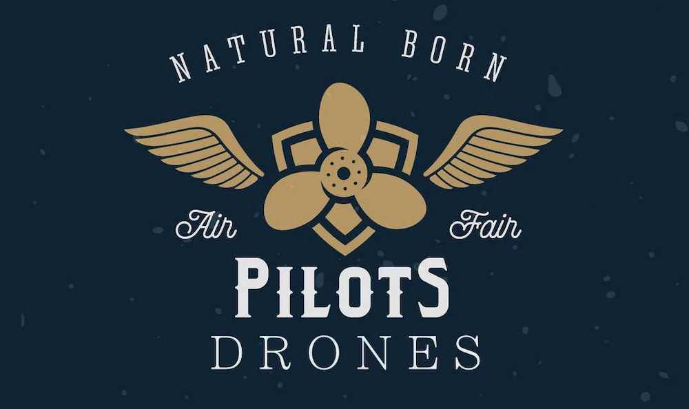 logo de piloto de drones con unas alas y una hélice encima de un escudo