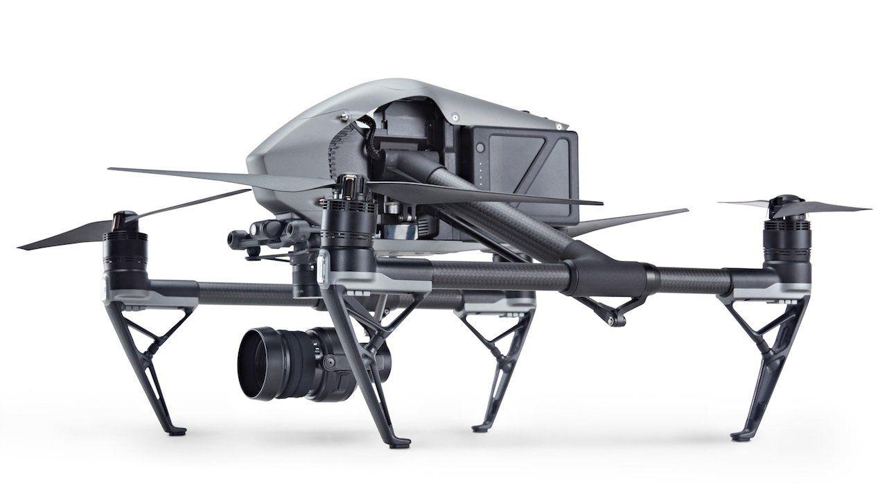 vista lateral del Drone Dji Inspire 2 con la camara X5S incorporada
