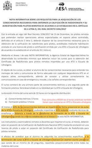documento oficial sobre la nueva normativa de radiofonista