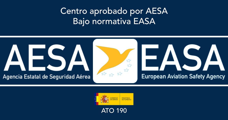 logo aesa, logo easa, ministerio de fomento, gobierno de espana, ato 190 sobre fondo azul oscuro