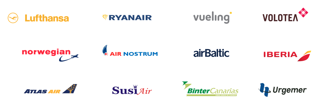 logos de compañias aéreas, lufthansa, ryanair, vueling, volotea, norwegian, air nostrum, airbaltic, iberia, atlasair, susiair, bintercanarias, urgemer