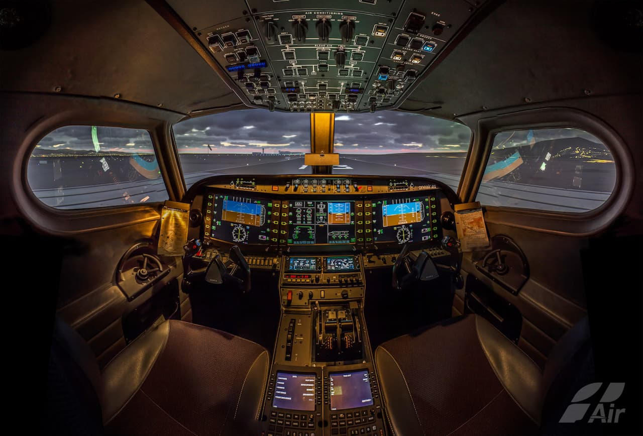 cabina de simulador alsim alx de one air aviacion