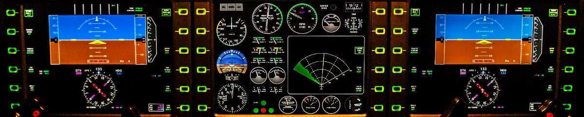 detalle de controles de aeronave