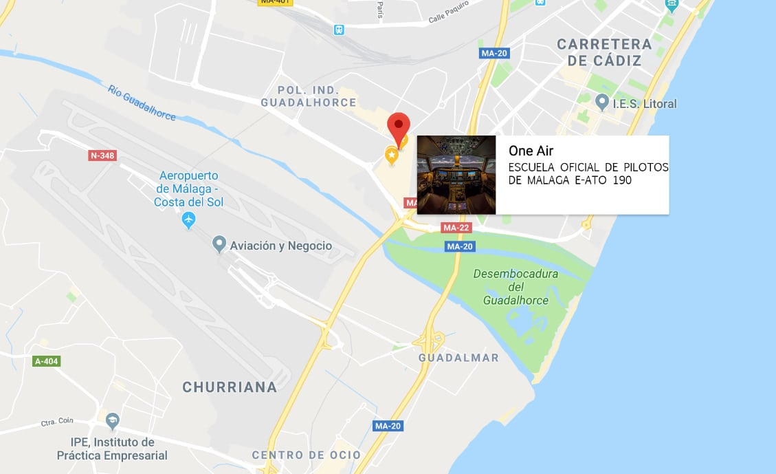 localización de la escuela one air aviación en google maps