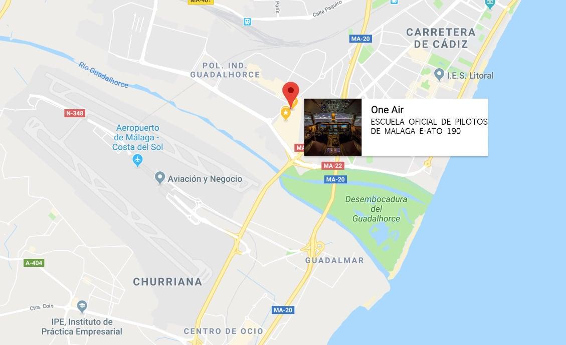 localización de la escuela one air aviación en google maps