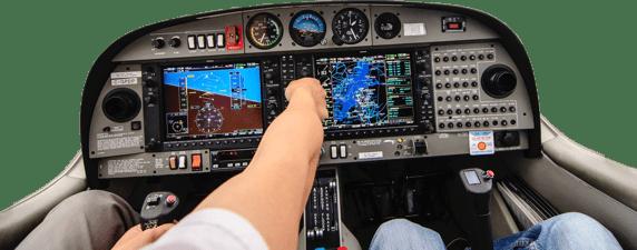 cuadro de mandos de aeronave con fondo transparente