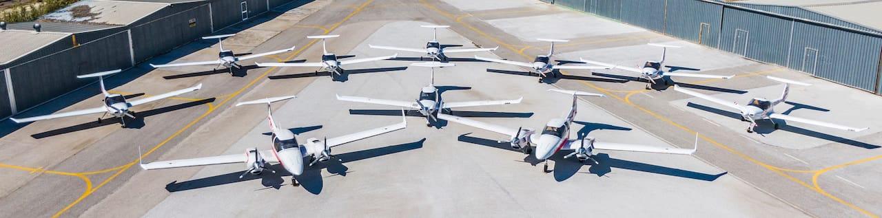 flota de aviones diamong de la escuela one air en aerodromo de velez