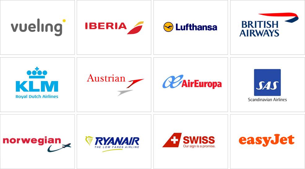 logo de vueling, logo de iberia, logo d lufthansa, logo de british airways, logo de klm, logo de austrian, logo de aireuropa, logo de sas, logo de norwegian, logo de ryanair, logo de swiss y logo de easyjet