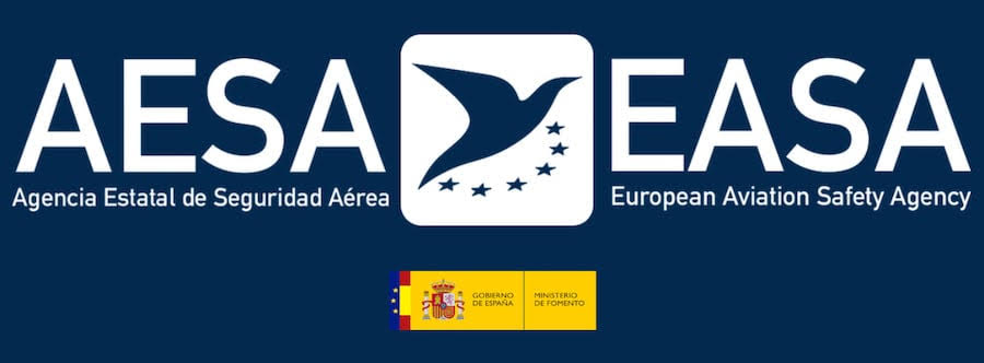 Banner con logos de AESA, EASA, Ministerio de Fomento, Gobierno de España.