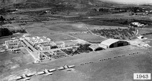 Vista aérea del Aeropuerto de Málaga en 1943.
