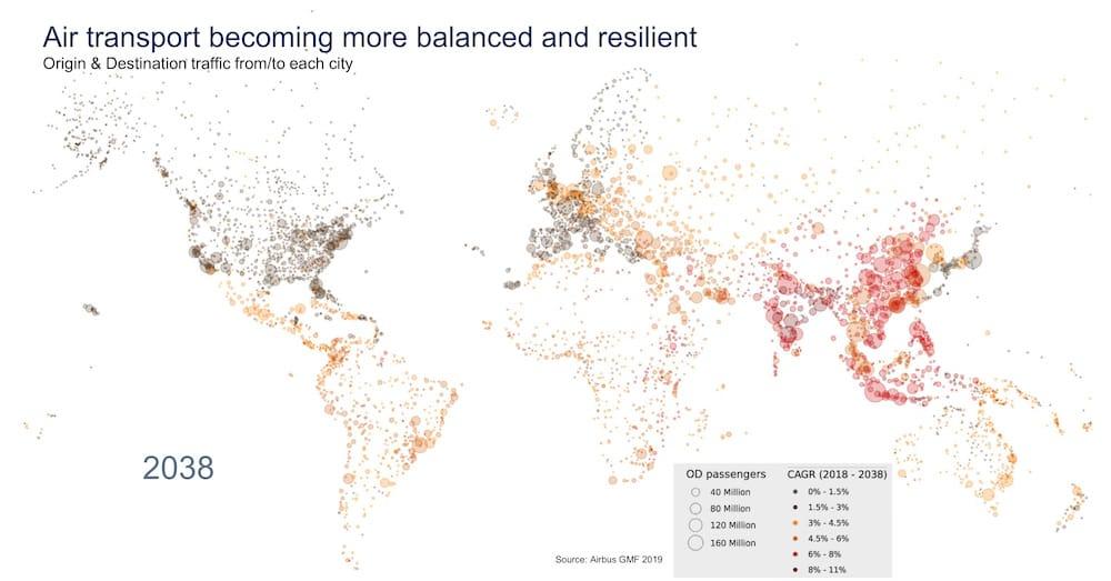 Mapa mundial ue refleja el cambio en las tendencias del origen y destino de los vuelos en los próximos 20 años.