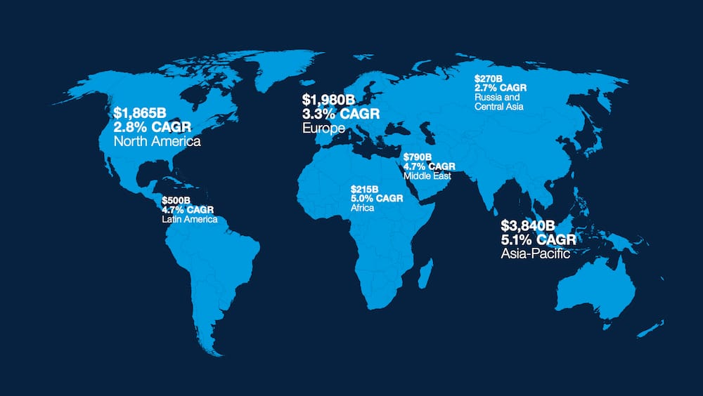 Mapa con la demanda de servicios de aviación comercial prevista por regiones.