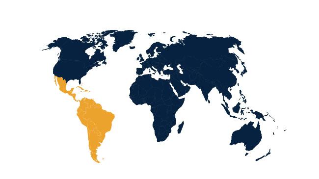 Mapa de América latina y el Caribe.